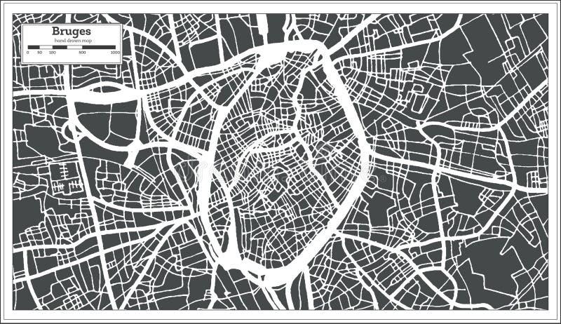 Brügge-Stadtplan im Retrostil Antilocapra Americana vektor abbildung