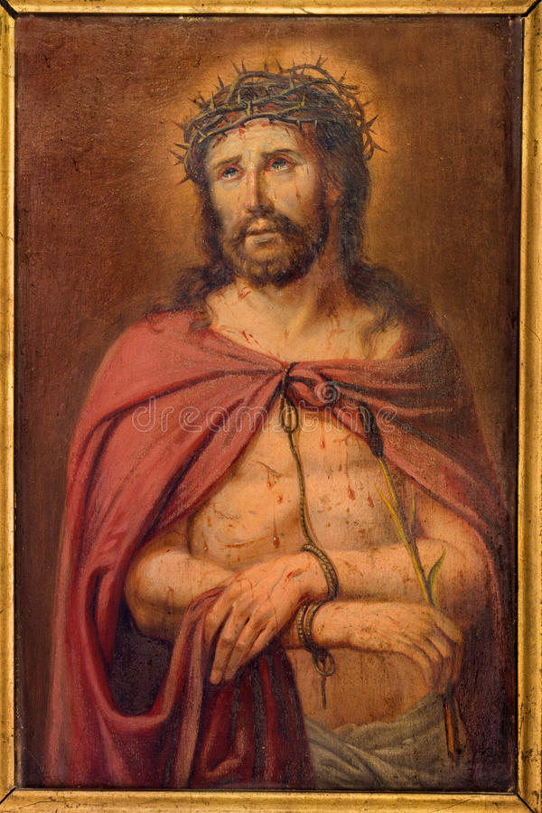Brügge - wenig Farbe von Jesus Christ in der Bindung durch unbekannten Maler im Geständniskasten in St Giles lizenzfreies stockbild