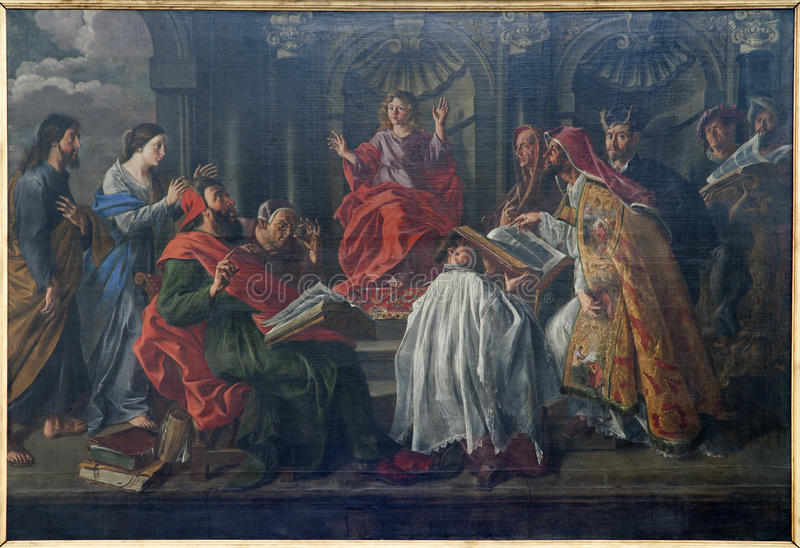Brüssel - Jesus am Unterricht des Alters 12 im Tempel stockbilder