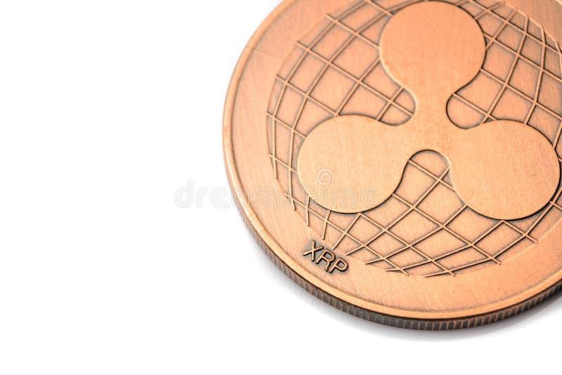 Brązowa cryptocurrency moneta - Pluskocze, odizolowywał na bielu, zdjęcia stock