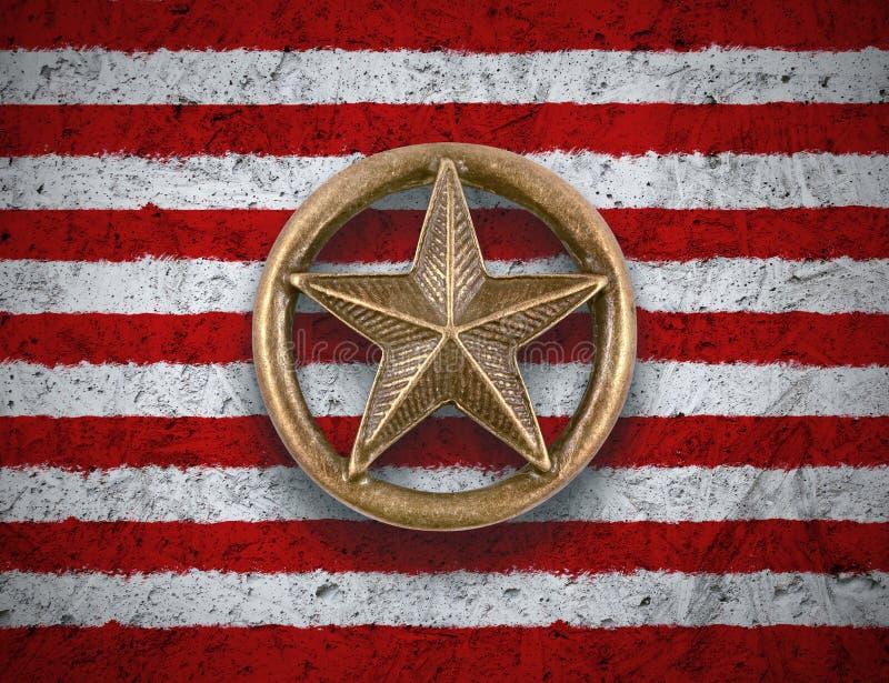 Brązowa gwiazda na USA flaga tle obraz stock