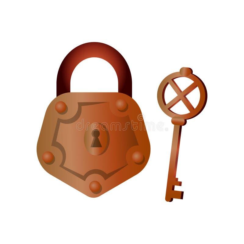 Brązowa metalu koloru kłódka z retro kluczem, domowy wyposażenie ilustracja wektor
