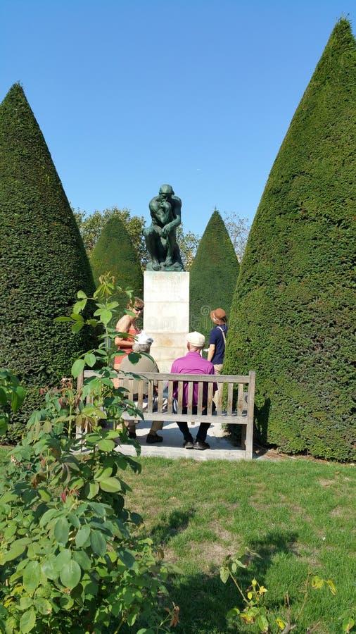 Brązowa Rodin statua myśliciel fotografia royalty free