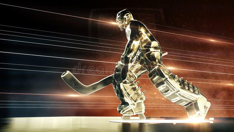 Brązowa rzeźba hokeja na lodzie bramkarz w akcji pozie z dramatycznymi lekkimi pył cząsteczkami w powietrza i ogienia promieniach ilustracji