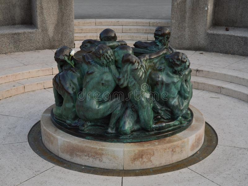 Brązowa rzeźba w Zagreb obraz stock