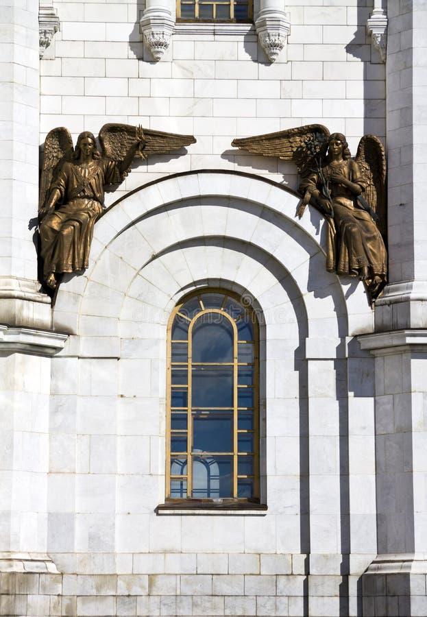 Brązowa statua aniołowie od katedry Chrystus wybawiciel w Moskwa. zdjęcie stock
