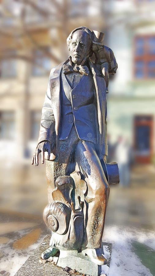 Brązowa statua Hans chrześcijanin andersen w Bratislava obrazy royalty free