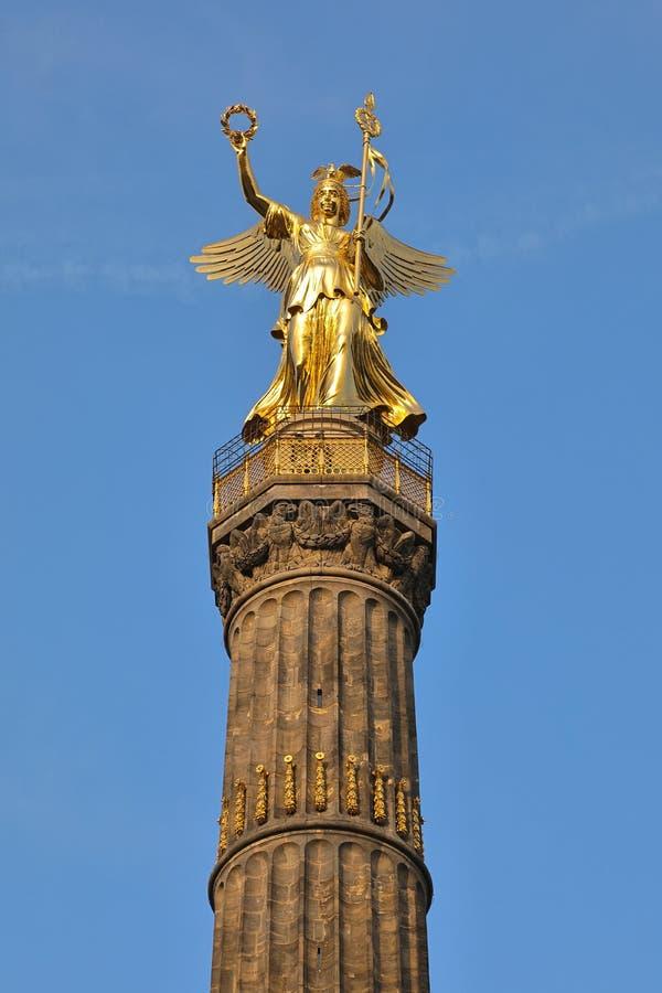 Brązowa Wiktoria rzeźba zwycięstwo Szpaltowy Siegessäule, Berlin, Niemcy Deutschland obrazy stock