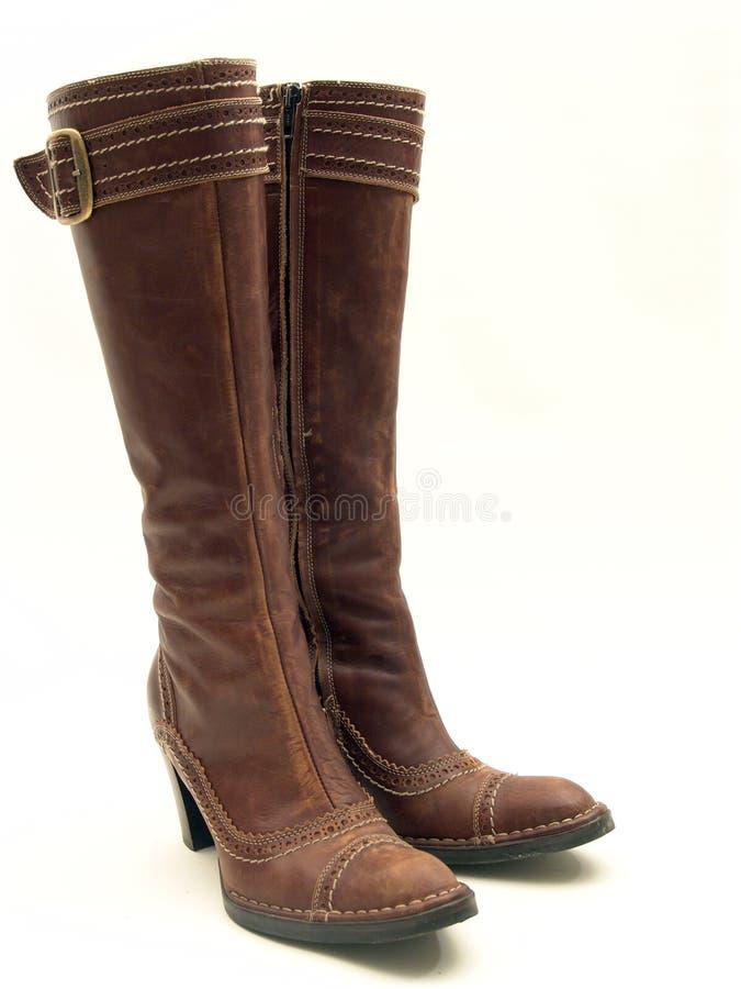 brązowe buty odseparowana skóry obrazy royalty free