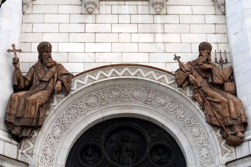 Brązowe rzeźby katedra Chrystus wybawiciel w Moskwa fotografia royalty free