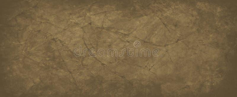 Brązowe tło ze spękaną lub pomarszczoną strukturą papieru w starym, oryginalnym projekcie, ciemna zielona kawa i brudny kolo ilustracja wektor