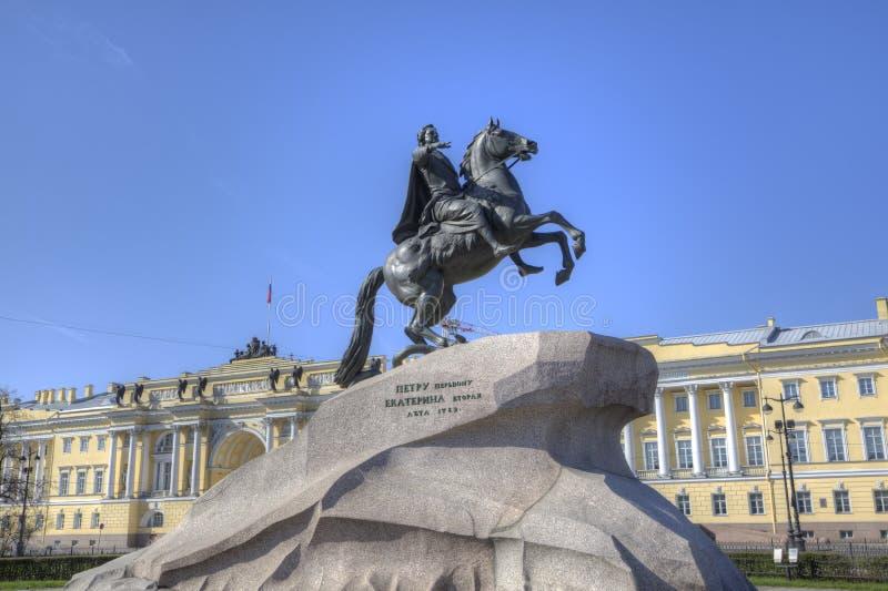 brązowego jeźdza pomnikowy Petersburg st fotografia royalty free
