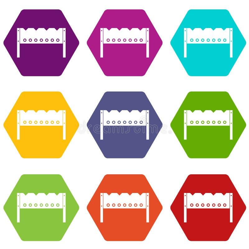 Brązownik ikony koloru ustalony sześciobok royalty ilustracja