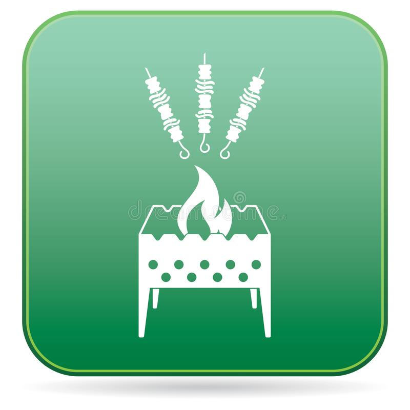 Brązownika grill z kebab ikoną ilustracja wektor