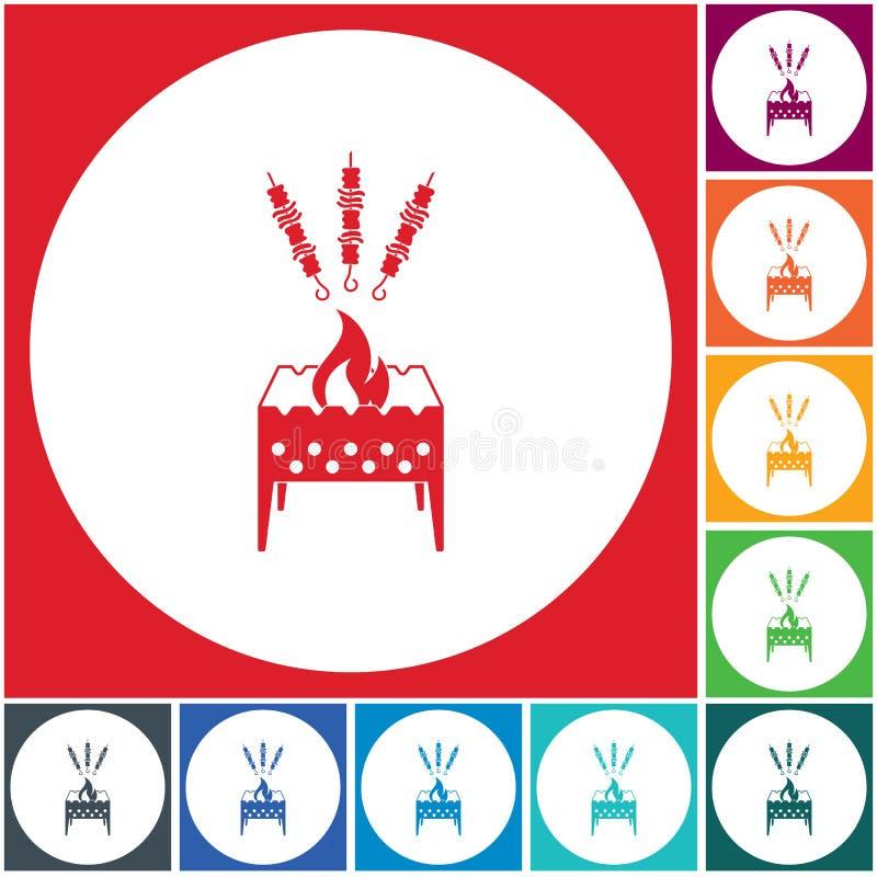 Brązownika grill z kebab ikoną royalty ilustracja