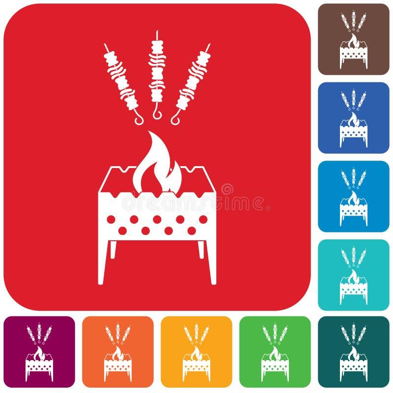 Brązownika grill z kebab ikoną ilustracji