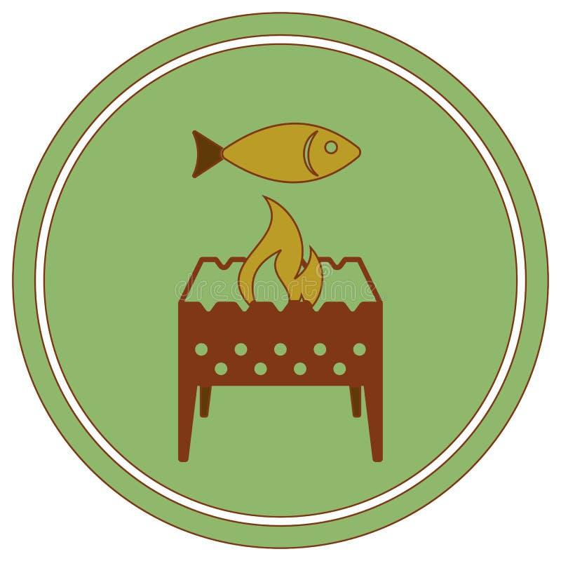 Brązownika grill z rybią ikoną ilustracja wektor