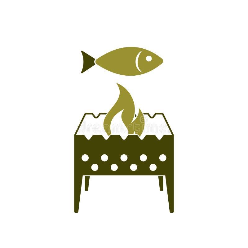 Brązownika grill z rybią ikoną ilustracji
