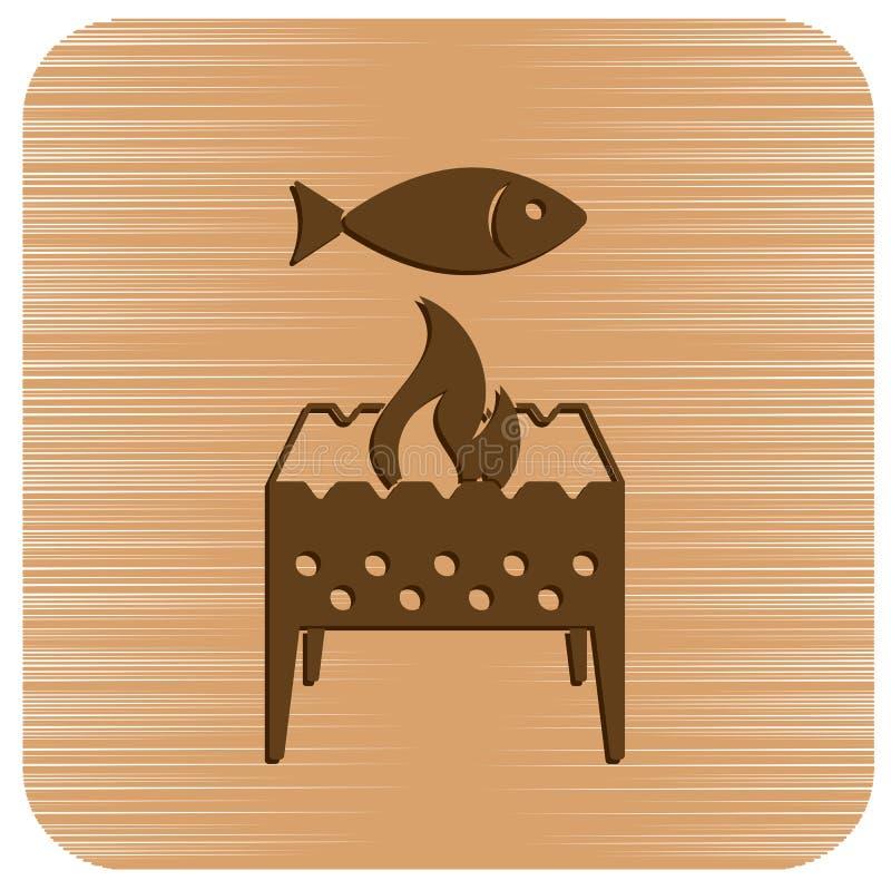Brązownika grill z rybią ikoną royalty ilustracja