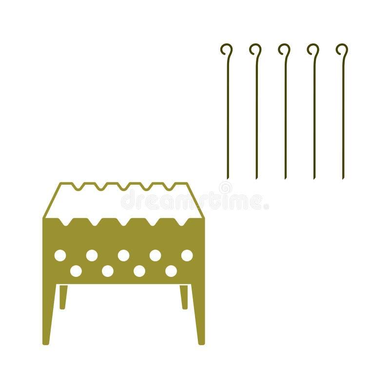 Brązownika grill z skewers ikoną ilustracji