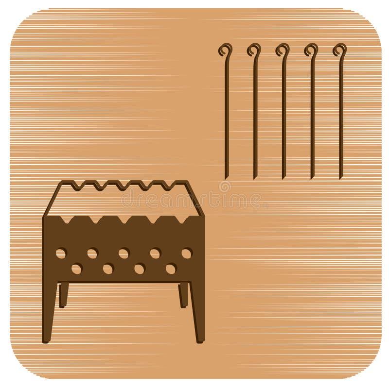 Brązownika grill z skewers ikoną ilustracja wektor