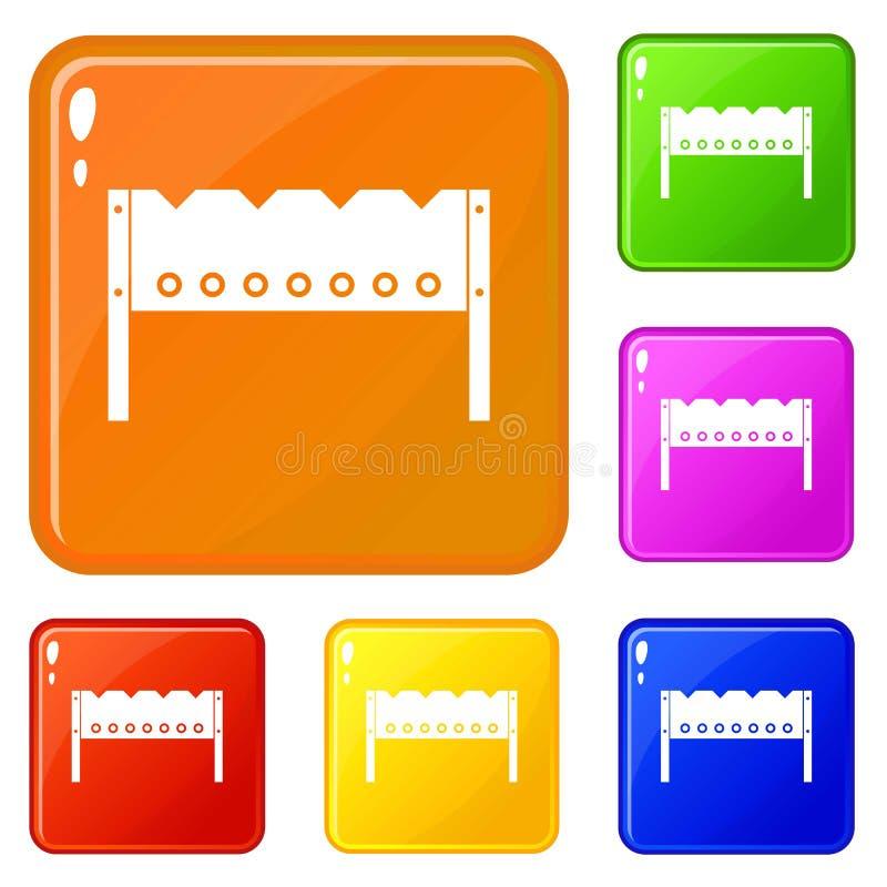 Brązownika ikona ustawiający wektorowy kolor ilustracji