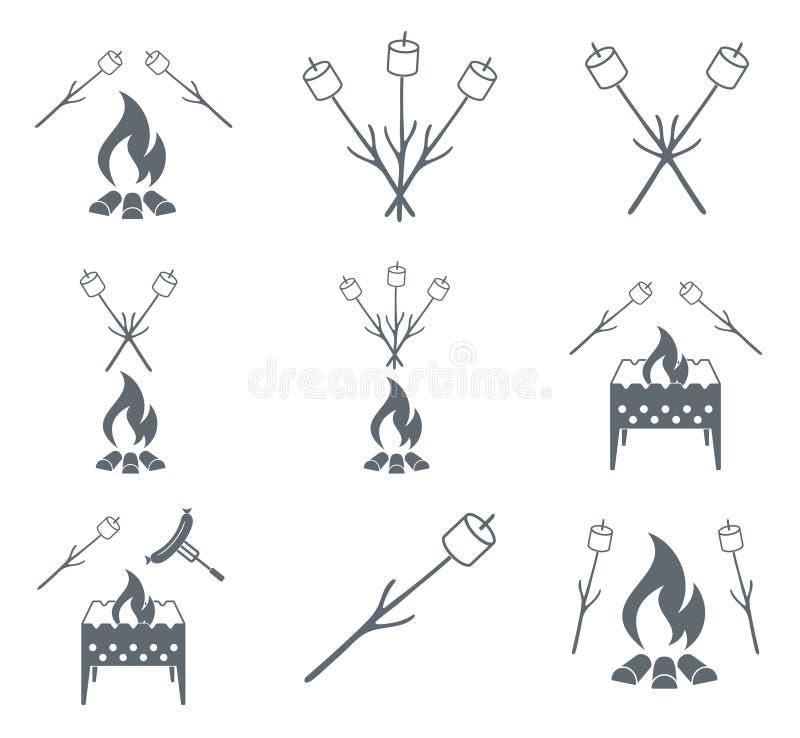Brązownika, zephyr i kiełbasy ikona, royalty ilustracja