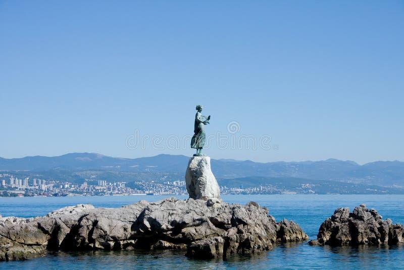 brązowy dziewiczy opatija rzeźby seagull fotografia stock