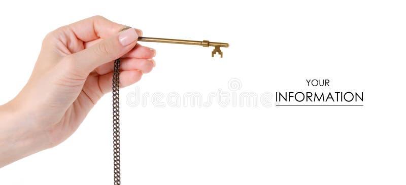 Brązowy klucz w ręka wzorze zdjęcia royalty free