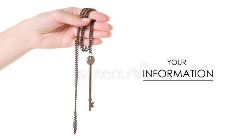 Brązowy klucz w ręka wzorze zdjęcie royalty free