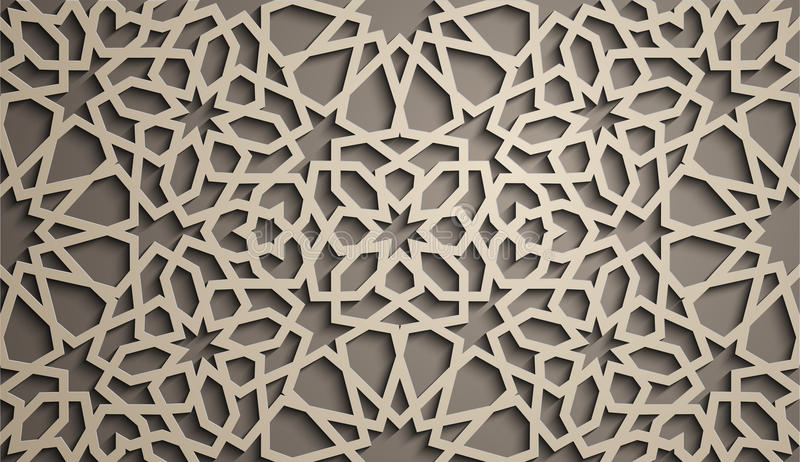 brązowy linii abstrakcyjne tła zdjęcie Islamski ornamentu wektor, perski motiff 3d Ramadan round wzoru islamscy elementy geometry ilustracji