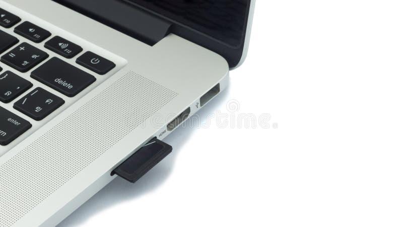 BR-Kaart in laptop wordt gestopt die Geïsoleerde stock foto