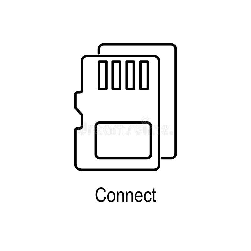 BR-kaartpictogram Element van computerdeel voor mobiel concept en Web apps Dun lijnpictogram voor websiteontwerp en ontwikkeling, royalty-vrije illustratie