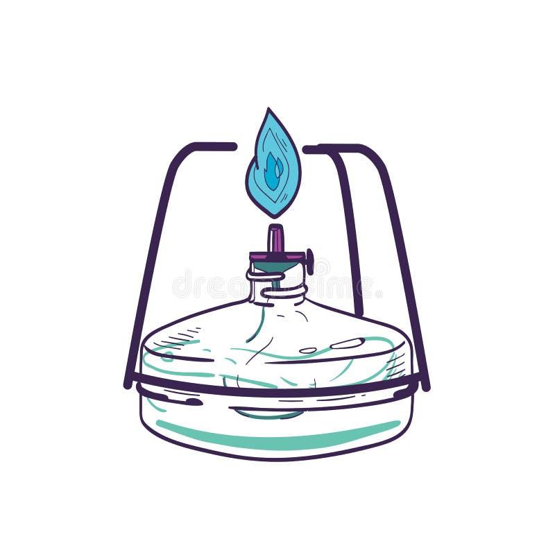 Br?leur ? gaz d'isolement sur le fond blanc Équipement de laboratoire tiré par la main pour la chauffage et la combustion Outil d illustration stock