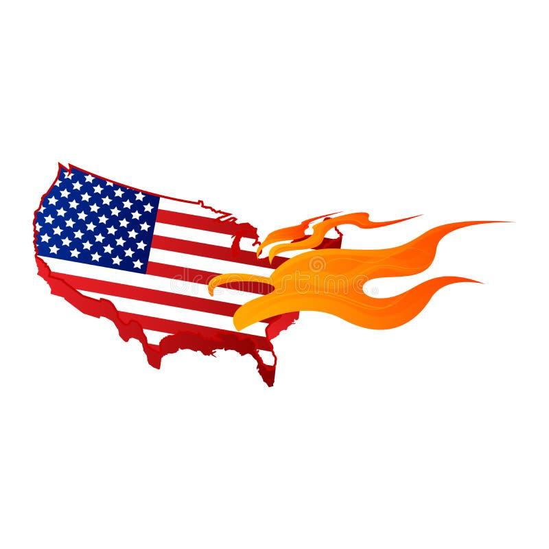 Brûlure et feu de drapeau américain illustration stock