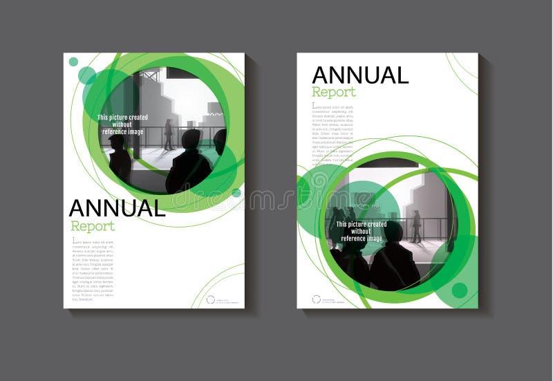 Br moderno del extracto de la cubierta de libro del círculo del extracto del diseño verde de la cubierta stock de ilustración