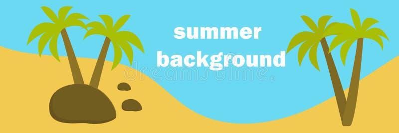 br?nning f?r sommar f?r stenar f?r strandkustcyprus medelhavs- sand Landskap med palmträd, havsvågor Tropiskt panorama- landskap royaltyfri illustrationer
