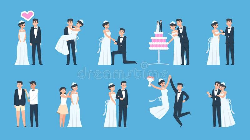 Br?utigam und Braut Karikaturhochzeitspaare in den verschiedenen Szenen, vorbereitend und feiern Küssendes Vektortanzen und lizenzfreie abbildung