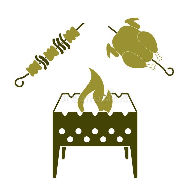 Br?zownik, kebab i kurczak, ilustracja wektor