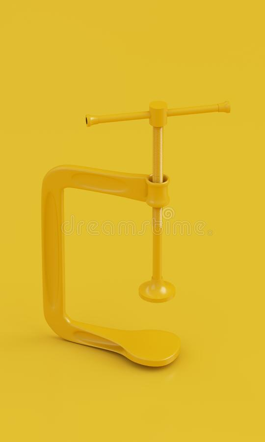 Braçadeira amarela de Minimalistic no fundo amarelo limpo 3d rendem ilustração do vetor
