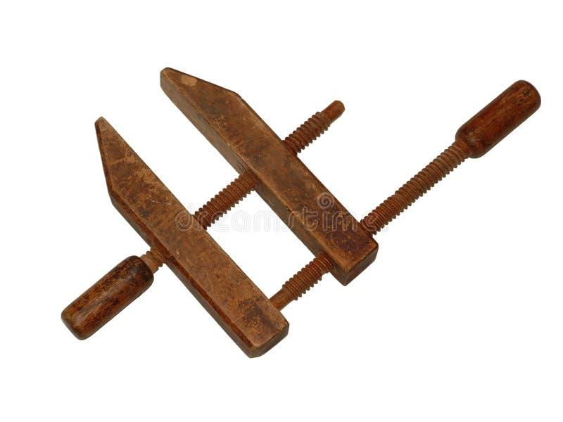 Braçadeira de madeira antiga fotografia de stock