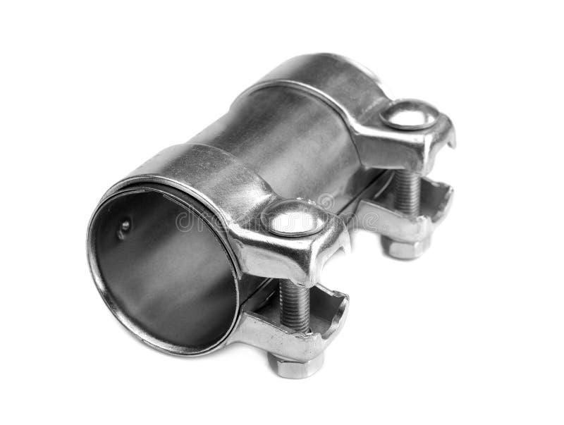 Braçadeira de tubulação de aço Isolado no branco foto de stock royalty free