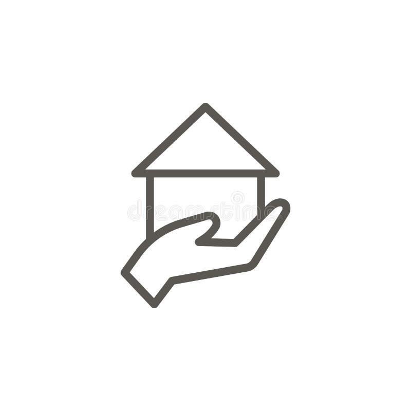 Braço, casa, empréstimo da mão, ícone da hipoteca Ilustra??o simples do elemento do conceito de UI Braço, casa, empréstimo da mão ilustração royalty free