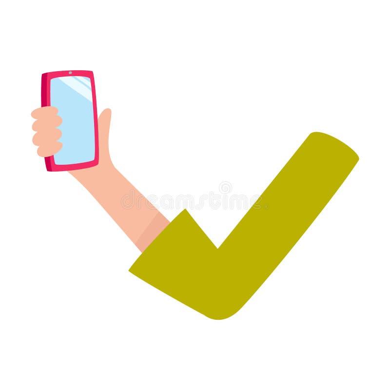 Braço da mulher, mão que guarda o telefone celular, smartphone com tela vazia ilustração stock