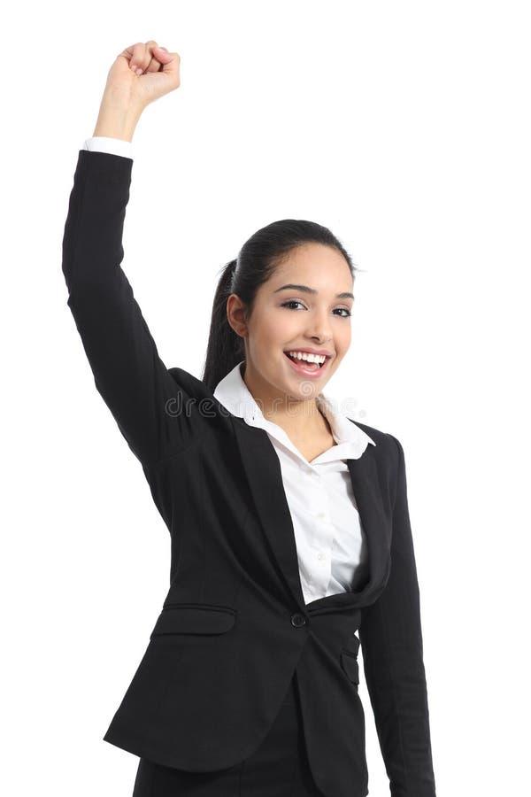 Braço de levantamento eufórico árabe da mulher de negócio imagem de stock