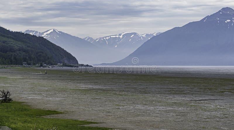 Braço de Turnagain do cozinheiro Inlet em Alaska na maré baixa fotografia de stock royalty free