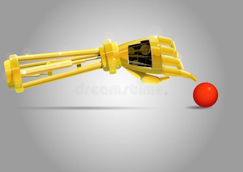 Braço do robô com bola ilustração royalty free