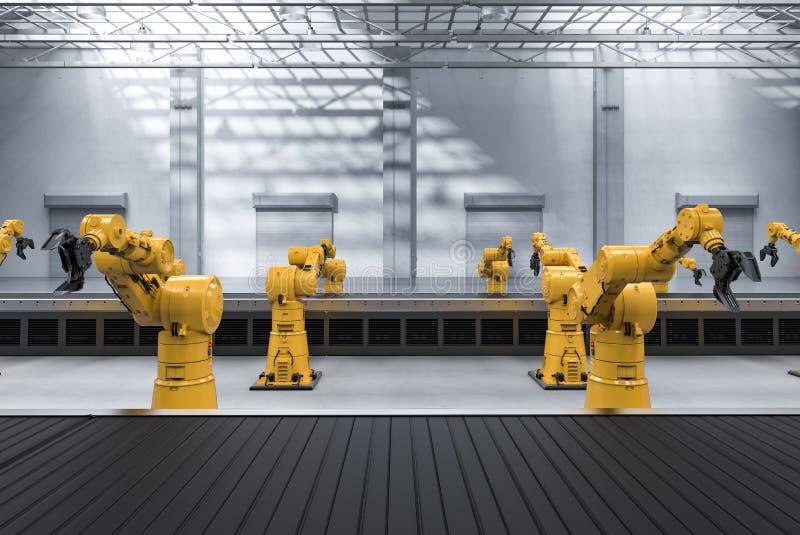 Braço do robô com linha do transporte ilustração stock