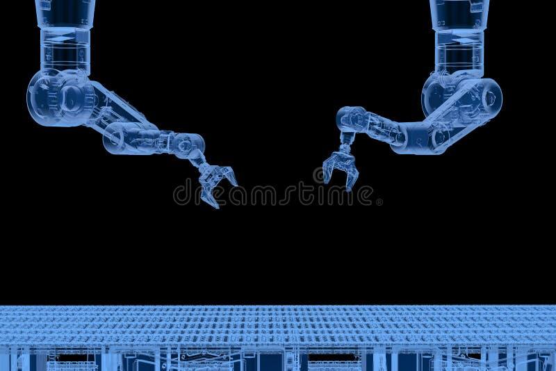 Braço do robô com linha do transporte ilustração do vetor