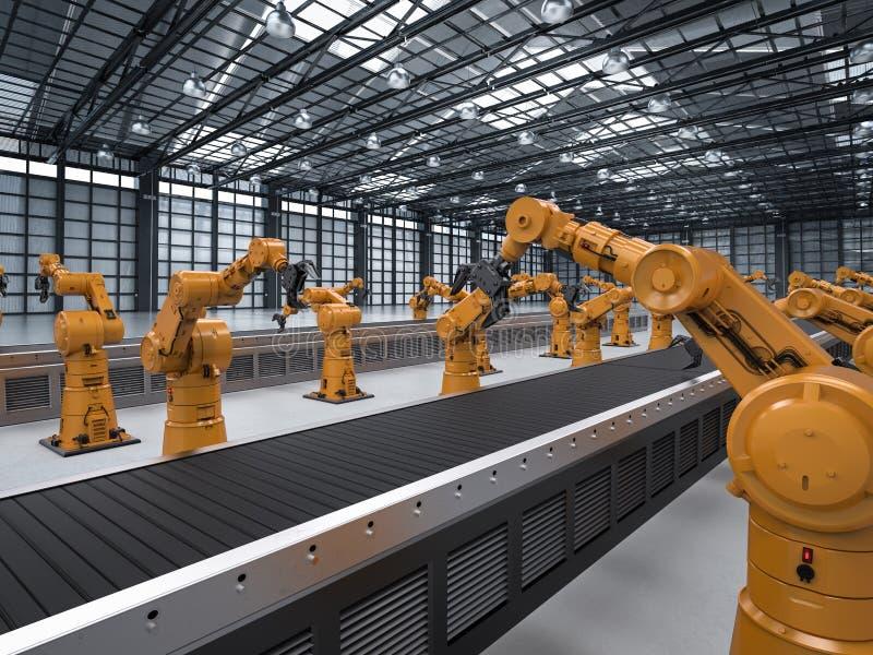 Braço do robô com linha do transporte ilustração royalty free
